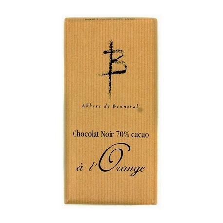 Tablette Chocolat noir 70% cacao à l'orange